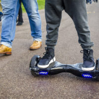 Young boy on a hoverboard