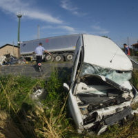 Tractor-Trailer Collides with railing