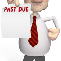 Debt collector holding a past due notice