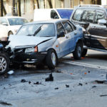A two vehicle collision