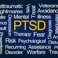 PTSD Word Cloud on Blue Background