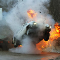 potentially fatal car crash results in explosions