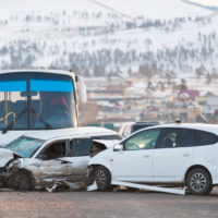 Vehicle and bus accident