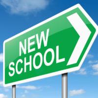 Green new school sign
